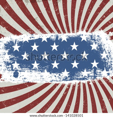 American patriotic background. Vintage style. Raster version, vector file available in my portfolio. - stock photo