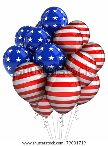 American patriotic balloons in traditional colors over white - stock photo