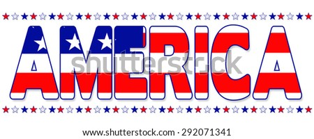 American patriotic banner with red, white and blue text reading AMERICA with star border above and below