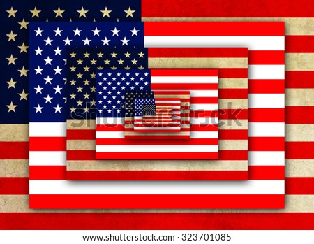American patriotic illustration using alternate layers of American flag.  One layered is weathered and the alternate is new.  Larger in back to smallest forefront. - stock photo