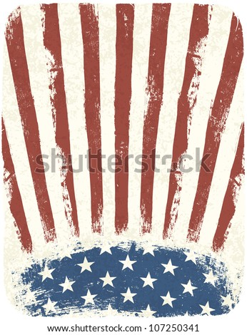 American patriotic poster background. Vintage style poster template. Raster version. - stock photo