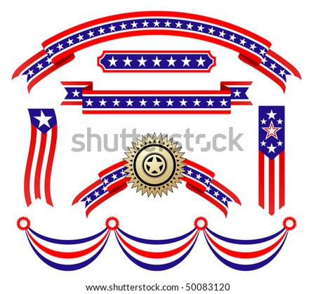 American patriotic ribbons set for design and decorate. Vector version is also available