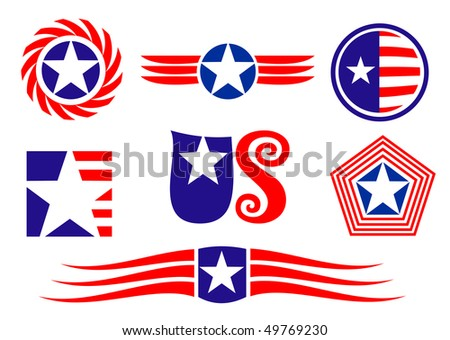 American patriotic symbols set for design and decorate or logo template. Vector version also available in gallery - stock photo