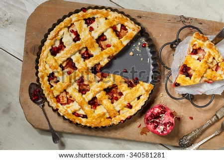 American pie with apple,foxberry and pomegranate seeds ingredients - stock photo