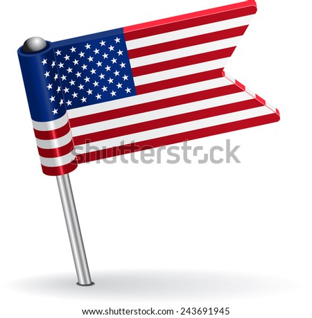 American pin icon flag. Raster version - stock photo