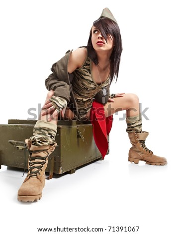 american pin-up army girl - stock photo