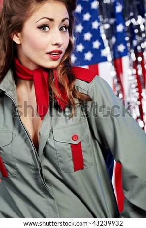 American pin-up  sexy girl. Patriot concept