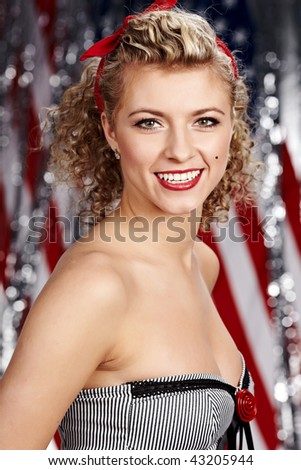 American pinup blonde girl - stock photo