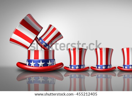 American population increase demographic concept as an open large United States top hat giving birth to smaller hats as a national fertility growth symbol or increasing voters as a 3D illustration.