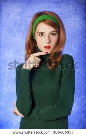 American redhead girl. Photo in 60s style. - stock photo