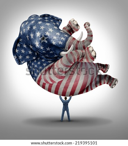 American republican vote election leadership symbol as an elephant with a painted flag of the United States with a person lifting up the icon of the conservative values in a voting campaign. - stock photo