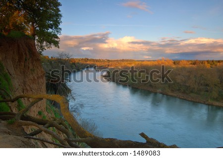 American river near Sacramento in the evening - stock photo