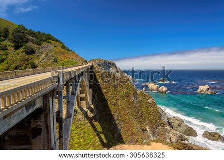 American road, Pacific Coast Highway One in California, Big Sur - stock photo