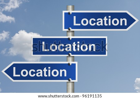 American road signs with the sky with words location, location and location, Real estate is all about the location