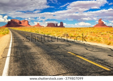 American road with view to Monument Valley, Utah - stock photo