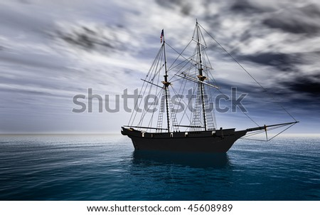 American Schooner Sailing ship silhouette at anchor before a cloudy sky. Calm ocean water. Storm clouds moving in. Original Illustration - stock photo