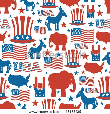 American seamless pattern. USA Election Symbols National pattern. Uncle Sam hat. American flag and map. Democrat Donkey and Republican Elephant. Patriotic background. USA Election texture.  - stock photo