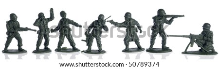 american second world war toy soldiers on white - stock photo