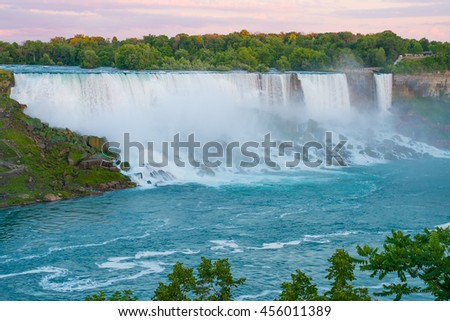 American side of Niagara Falls viewed from across the river. - stock photo