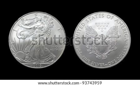 American silver eagle dollar coin over black - stock photo