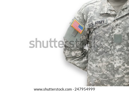 American soldier on white background - stock photo