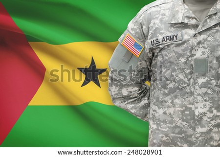 American soldier with flag on background - Democratic Republic of Sao Tome and Principe - stock photo