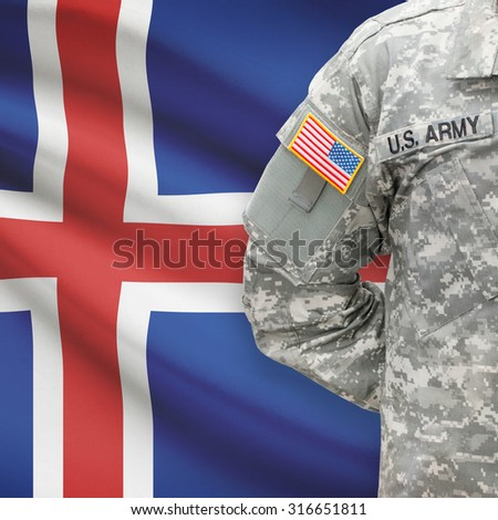 American soldier with flag on background series - Iceland