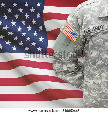 American soldier with flag on background series - United States - stock photo
