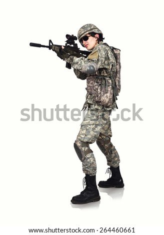 American soldier with rifle  on white background - stock photo