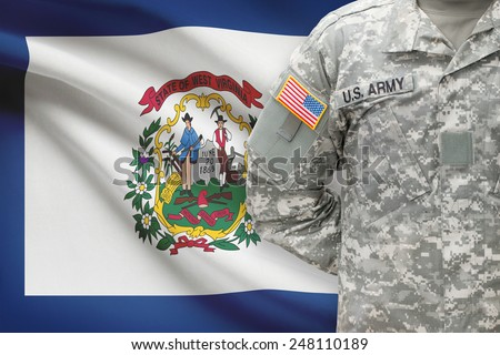 American soldier with US state flag on background - West Virginia - stock photo