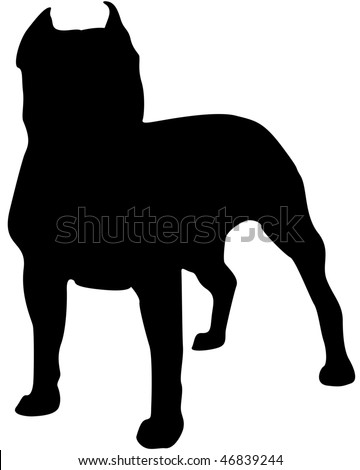 American Staffordshire Terrier Silhouette - stock photo