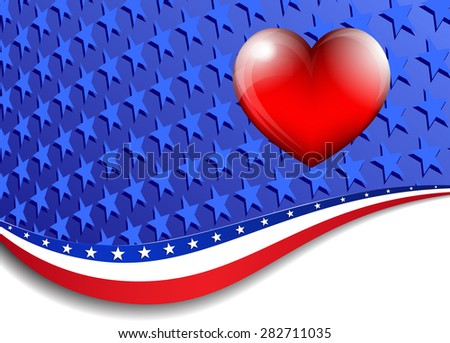 American, Stars and Stripes Background - Raster Version - stock photo
