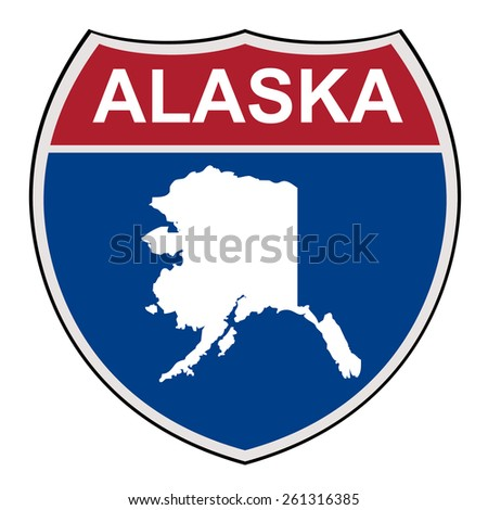 American State of Alaska map interstate highway road shield isolated on a white background. - stock photo