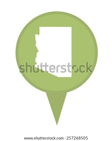 American state of Arizona marker pin isolated on a white background. - stock photo