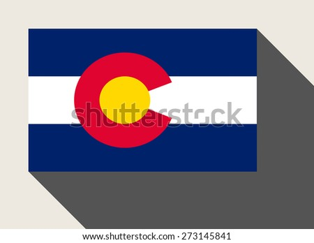 American State of Colorado flag in flat web design style. - stock photo