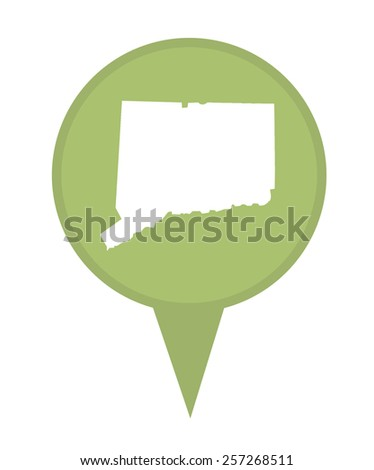 American state of Connecticut marker pin isolated on a white background. - stock photo