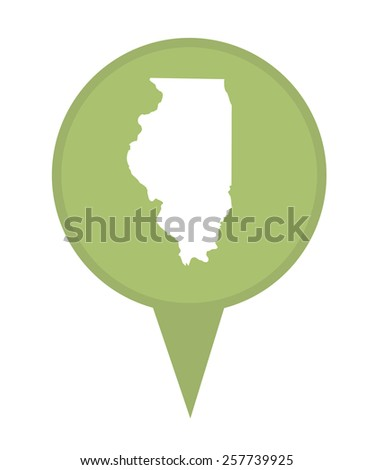 American state of Illinois marker pin isolated on a white background. - stock photo