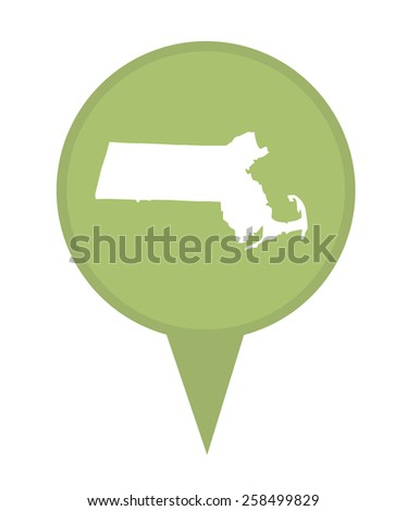 American state of Massachusetts marker pin isolated on a white background. - stock photo