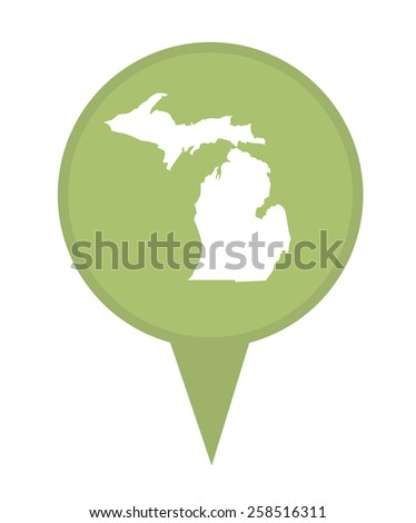 American state of Michigan marker pin isolated on a white background. - stock photo