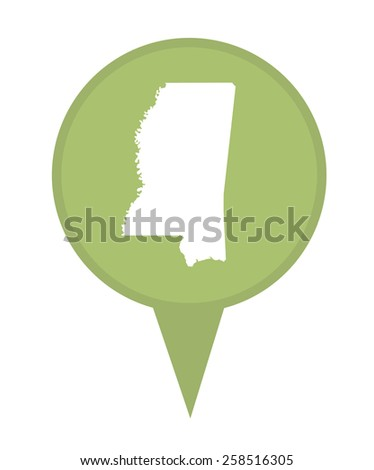 American state of Mississippi marker pin isolated on a white background. - stock photo