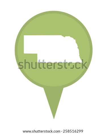 American state of Nebraska marker pin isolated on a white background. - stock photo