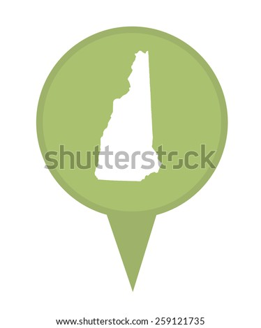 American state of New Hampshire marker pin isolated on a white background. - stock photo