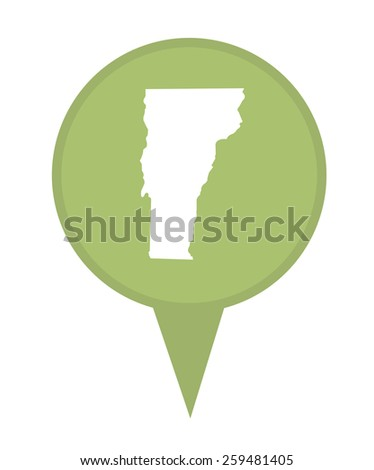 American state of Vermont marker pin isolated on a white background. - stock photo