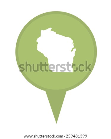 American state of Wisconsin marker pin isolated on a white background. - stock photo