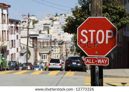 American stop sign in San Francisco