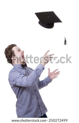 American student cap on white background - stock photo