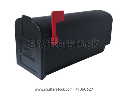 American-style mailbox, closed with flag raised. Studio shot, isolated on white background, saved with clipping path