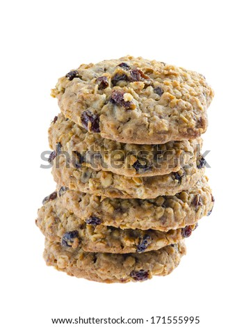 American style oatmeal rising cookies isolated on white background. - stock photo