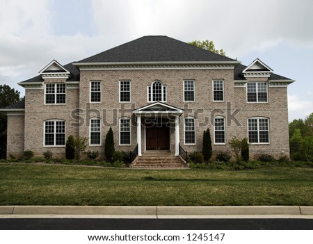 american suburban dream home in virginia.  one of many residential shots. - stock photo