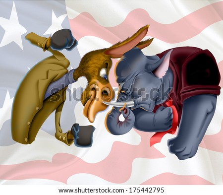 American symbols of Democrat donkey and Republican elephant against flag background - stock photo